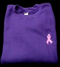 Breast Cancer Sweatshirt Awareness Pink Ribbon Purple Crew Neck Unisex 5XL New