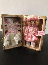 "Vintage Porcelain Doll in Wood Case With Wardrobe ""Bon Voyage"" Cracker Barrell"