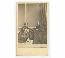 2 WOMEN IN BEAUTIFUL DRESSES - 1 LADY KNITTING OTHER READING W/ CAT OR DOG, CDV