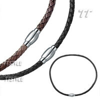 TT Leather S.Steel Magnet Buckle Collar Necklace 4mm/6mm Mens&Womens (CL07)