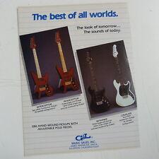 retro magazine advert 1984 G&L GUITARS