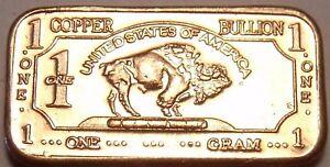 Gem Unc .999 Pure Copper 1 Gram Buffalo Bar~Totonka