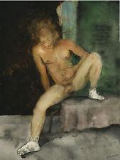 Painting, NUDE male LOCKER ROOM EPIPHANY 1/6/50 #ArtofEsteban Realism FREE SHIP