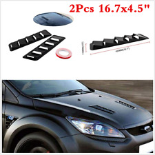 2PCS Universal Car Bonnet Hood Vent Louver Cooling Panel Trim Black ABS Plastic