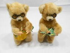 VINTAGE TWO WIND-UP KNITTING BEARS, WORKING CONDITION