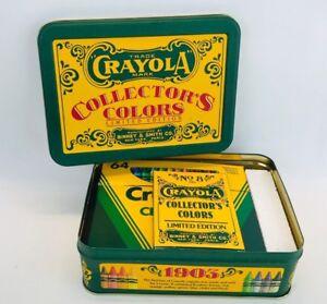 Vintage 1991 Crayola Collectors Colors Limited Edition Crayons Tin Box Sharpener