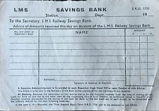 LMS Railway Savings Bank Receipt Trains Railways Ireland