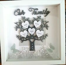 PERSONALISED FAMILY TREE, Gift 3D Box Frame,Birthday,Wedding,Anniversary