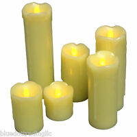BRAND NEW 6-PACK FLAMELESS LED IVORY CANDLE SET - Dripping Wax Finish US SHIPPER