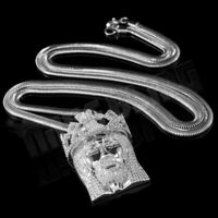 18K White Gold Plated JESUS PIECE Out Iced Crown Pendant Snake Chain Necklace