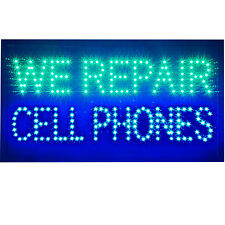 "Large 24x13"" Bright We Repair Cell Phones Broken Screen Iphone Fix LED Open Sign"