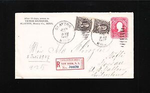 Slayton MN Registered 1907 Bureau 2x8c NY Registry Switzerland Cover 2c PSE 2t