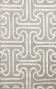 4x6 Modern Trellis Indian Oriental Area Rug Wool/ Silk Hand-tufted Foyer Carpet
