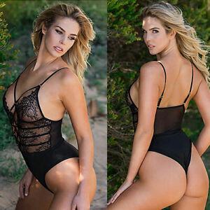 Women's Black Lace Sexy Bodysuit Teddy Hollow-out Conjoined Plus Size Lingerie