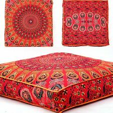 """Indian Cushion Floor Pillow Case Mandala 35"""" Ottoman Square Dog Bed Cover Pouf"""