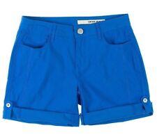 NEW DKNY JEANS Women's Poplin Roll Tab Shorts Lightweight Flat Front Blue 8