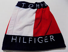 Tommy Hilfiger Vtg 90s Spellout Colorblock Terry Cloth Wrap Towel Skirt -OSFA-