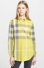 100% AUTHENTIC NEW WOMEN BURBERRY BRIT TUNIC YELLOW  CHECK SHIRT US XS