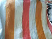 """Fabric Remnant  Linen fabric 100% European Linen Striped 58"""" wide sold by yard"""