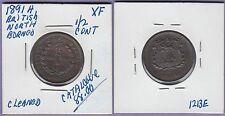 British North Borneo 1/2 Cent Copper Coin 1891-H Nice Extra Fine Cat#
