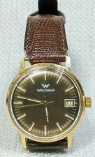 Runs Works VTG Waltham 7 Jewels Swiss Movement Wristwatch Wrist watch GOLD Tone