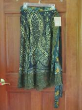 Urban Nomad Green Gold Silk Layered Wrap Boho Skirt   Made in India  M L XL