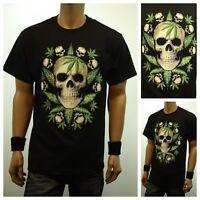 Weed Marijuana SKULL Pot Cannabis Printed Graphic T-Shirt Fashion  Urban Tee