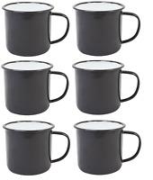 BLACK Enamel Mugs Cups Retro Camping Outdoor Coffee Tea Mug Cup 520ml x 6
