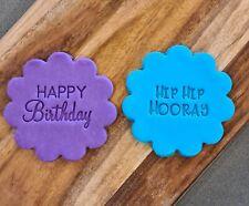Happy Birthday Hip Hip Hooray Set x2 Cookie Cupcake Stamp Embosser