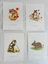 Set of Four Small Animal Prints  - Ready to Frame -  Joel Kirk - NEW
