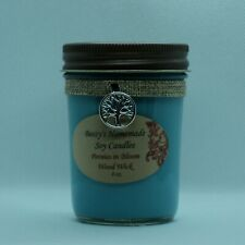 8 oz. Peonies in Bloom Hand Poured Natural Soy Wax Wood Wick Blue Candle