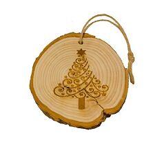 Log Slice Albero di Natale Decorazione, struttura e Swirls, da appendere in legno ornamento.