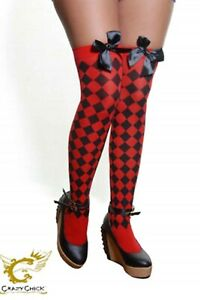 Girls Ladies Red Diamante Stockings With Black Bow Fancy Dress Party Accessory