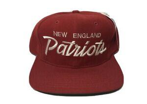 DS NWT Vtg New England Patriots PROLINE Sports Specialties Script Snapback Hat