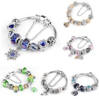 Women's European Charm Bracelet Silver Plated Crystal Charms Cuff Bangle 20CM