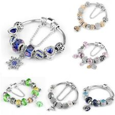 Crystal Charms Cuff Bangle 20Cm Women's European Charm Bracelet Silver Plated