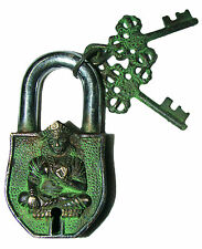 attractive Unusual Brass made Buddhist TARA PADLOCK lovely 2 keys from India