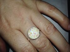 12mm Sparkly Round Druzy White iridescent  Adjustable Ring Size Up To Q Xmas