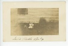 """""""Wadle Baby"""" Pudgy Toddler in Diaper w Cute Puppy RPPC Antique Photo 1910s"""