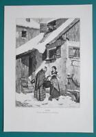 WINTER REVENGE Women Gossip Roof Snow Avalanche - VICTORIAN Era Engraving Print