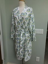 POTTERY BARN One Size Cotton Short Robe w/ Belt White & Floral Print