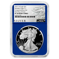 2021-W Proof $1 American Silver Eagle Congratulations Set NGC PF70UC FDI ALS Lab
