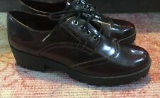 NEW STRADIVARIUS burgundy modern lace up patent brogues sz 7 40 shoes wine red
