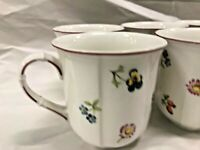 Villeroy & Boch PETITE FLEUR 10-oz Coffee Mugs Cups XLNT Condition! FREE SHIP