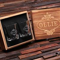 Personalized Engraved Shot Glasses with Wooden Gift Box, Groomsmen, Men, Custom