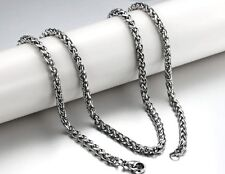 Silver  Wheat Braid Curb chain Necklace stainless steel Jewlery 4mm 21.6''