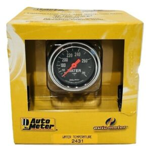 """Auto Meter 2""""-Inch Chrome Mechanical Water Temperature Gauge 140-280 °F"""