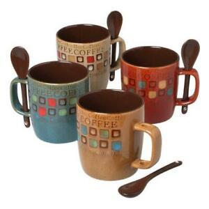 Mr. Coffee Café Americano 8Piece 14 Ounce Mug Set with Spoons, Assorted