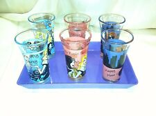 De-Lite Girls Night Shot Glass 7pc Set 6 Shot Glasses with Serving Tray