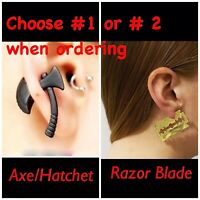 Women's 3D Double Side Black Axe OR Pin Puncture Razor Blade alloy Safe Earrings